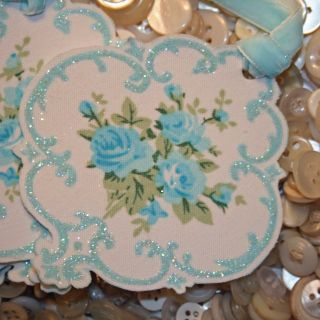 Blue fabric cameo tags detail 640