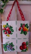 Vintage fruit tablecloth market tote small