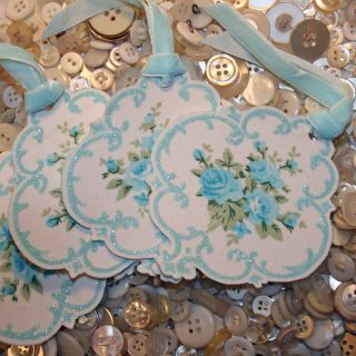 Blue fabric cameo tags